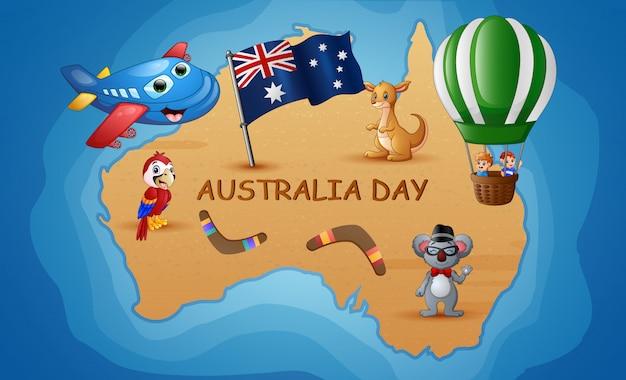 De kaart van australië op de achtergrond van de oceaan met dier en kinderen Premium Vector