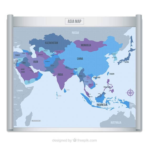 De kaart van azië in blauwe en purpere tonen Gratis Vector