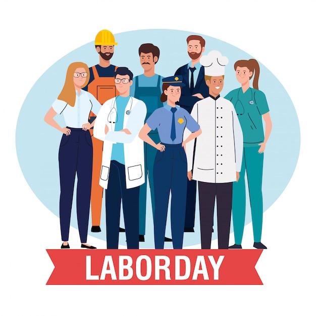 De kaart van de arbeidsdag met mensen groepeert verschillend beroep en vector de illustratieontwerp van de lintdecoratie Premium Vector