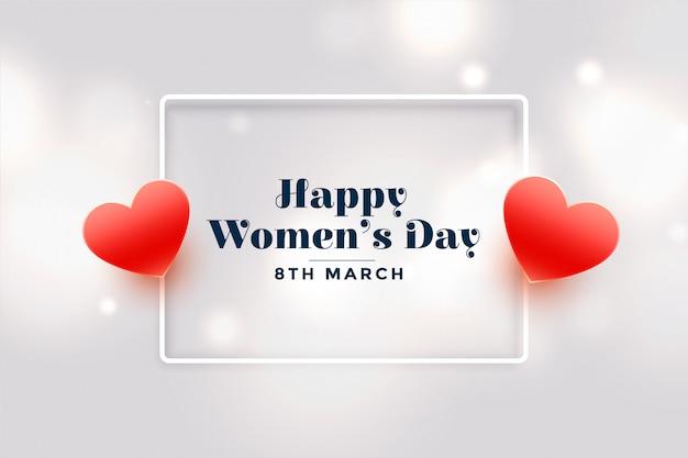 De kaart van de dag rode harten van gelukkige vrouwen Gratis Vector