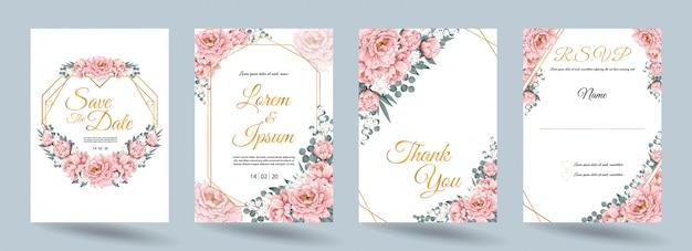 De kaart van de huwelijksuitnodiging met roze paeonia-bloemen en gouden kader Premium Vector