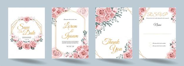 De kaart van de huwelijksuitnodiging met roze roze bloemen en gouden kader Premium Vector