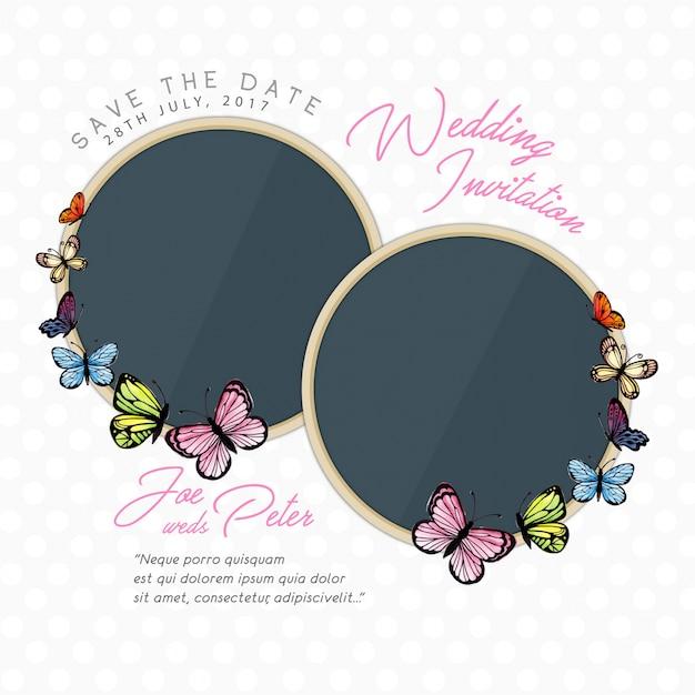 De kaart van de uitnodiging van het huwelijk van de vlinder van de waterverf Gratis Vector
