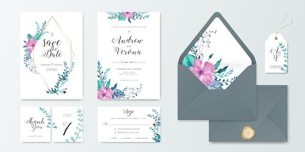 De kaart vastgesteld malplaatje van de huwelijksuitnodiging met bloemenwaterverfdecoratie. Premium Vector