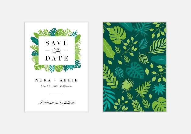 De kaartmalplaatje van de huwelijksuitnodiging met exotische tropische bladeren - vector Premium Vector