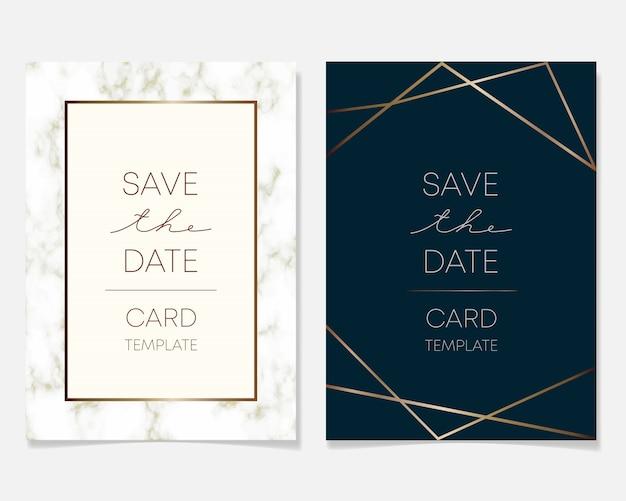 De kaartontwerp van de huwelijksuitnodiging met gouden kaders en marmeren textuur Premium Vector