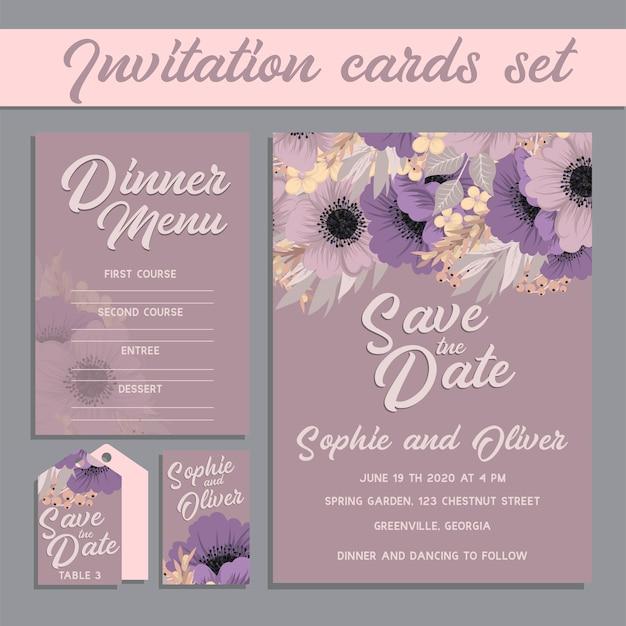 De kaartreeks van de huwelijksuitnodiging met bloem Gratis Vector