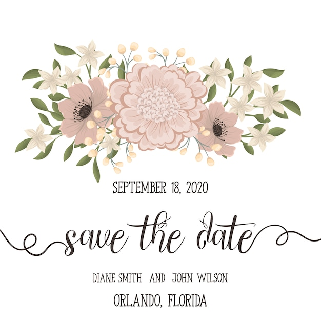 De kaartreeks van de huwelijksuitnodiging met bloemen Gratis Vector