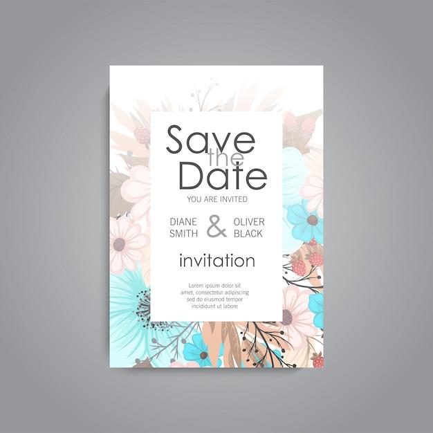 De kaartreeks van de huwelijksuitnodiging met bloemmalplaatje Gratis Vector