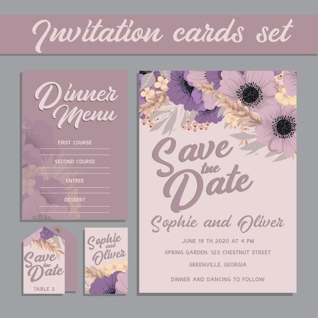 De kaartreeks van de huwelijksuitnodiging met bloemmalplaatjes. Gratis Vector