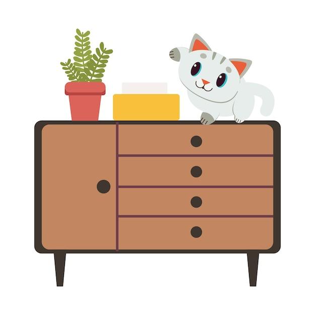 De karakter leuke kattenzitting op het bruine kabinet Premium Vector
