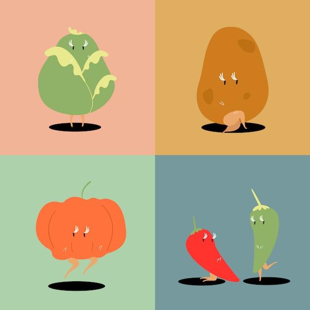 De karakters vectorreeks van het verse groentebeeldverhaal Gratis Vector