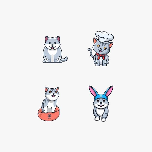 De kat met konijn stelt leuke illustratie Premium Vector