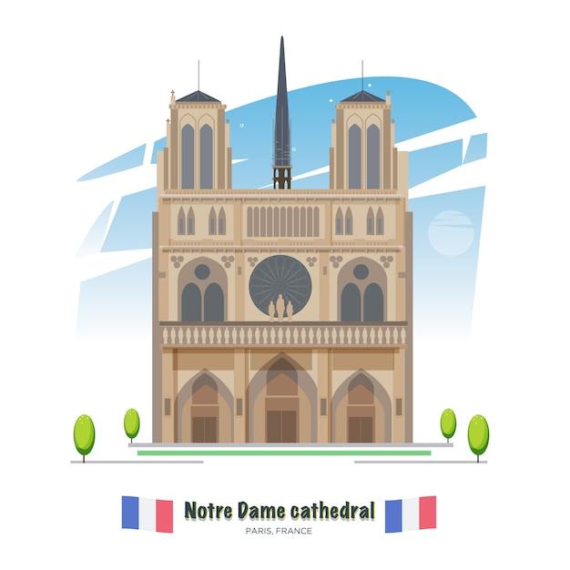 De kathedraal van notre dame in parijs - vector Premium Vector