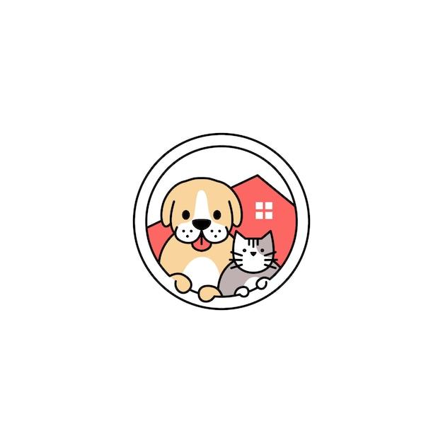 De kattenhuis van de huisdierenhond in de illustratie van het cirkelembleem vectorpictogram Premium Vector