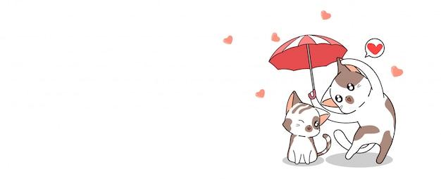 De kawaiikat van de bannergroet is paraplu voor beschermt de andere kat met liefde Premium Vector