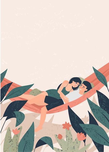De kerel en het meisje van minnaars koesteren in een hangmat onder tropische installatiesillustratie Premium Vector