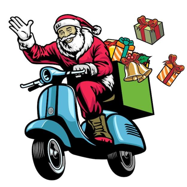 De kerstman die oude autoped met bos van kerstmis berijdt stelt voor Premium Vector