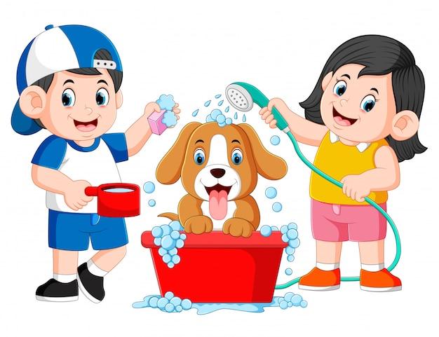 De kinderen maken zijn hond schoon met zeep en water in de emmer Premium Vector