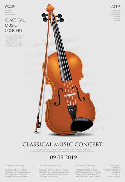 De klassieke muziekconcept viool vectorillustratie Premium Vector
