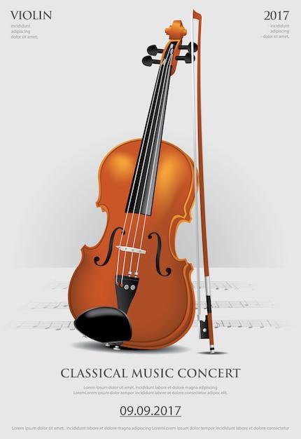 De klassieke muziekconcept vioolillustratie Premium Vector
