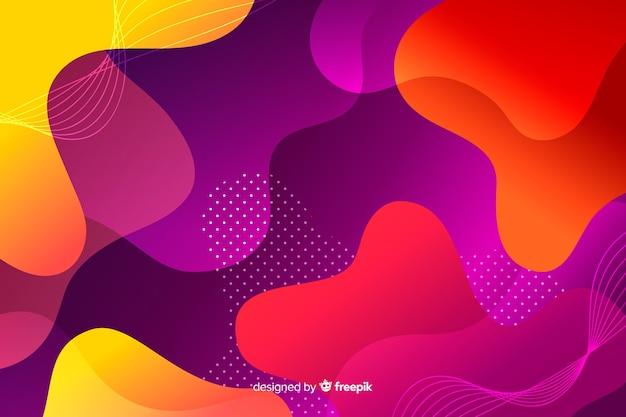 De kleurrijke achtergrond van gradiënt vloeibare vormen Gratis Vector
