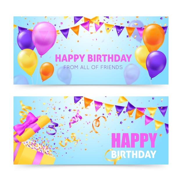 De kleurrijke horizontale banners van de verjaardagspartij met baloons slingers en confettien vlakten geïsoleerde vectorillustratie Gratis Vector