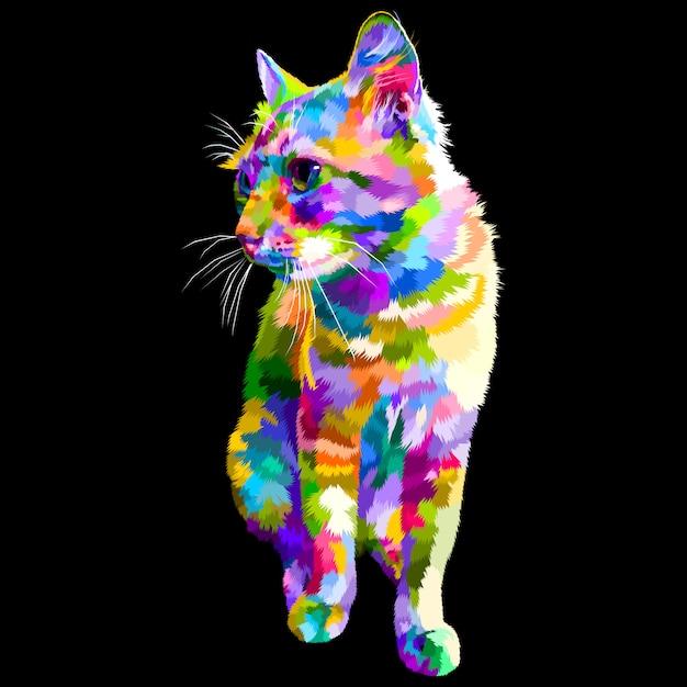 De kleurrijke kat zit kijkend aan kant Premium Vector