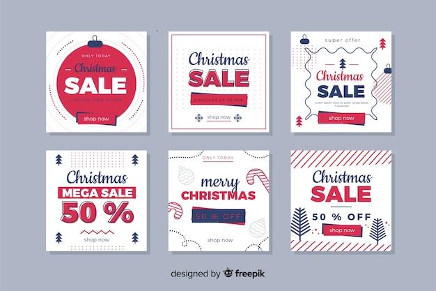 De kleurrijke postinzameling van de kerstmisverkoop instagram Gratis Vector