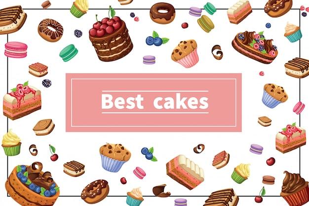 De kleurrijke samenstelling van beeldverhaalsnoepjes met cakes pastei snijdt donuts muffins cupcakes makaronsbessen en noten in kader Gratis Vector