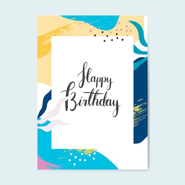 De kleurrijke vector van de de verjaardagskaart van memphis ontwerp Gratis Vector