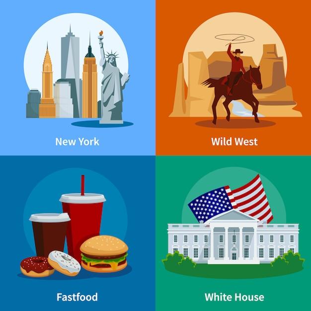 De kleurrijke vlakke die pictogrammen van de vs 2x2 met het wilde westen witte huis van new york en amerikaans snel voedsel worden geplaatst Gratis Vector