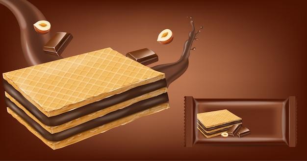 De koekjes van chocoladewafels bespotten omhoog Premium Vector