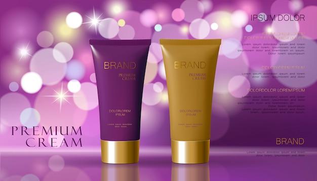 De kosmetische room en de purpere violette kleurenachtergrond met defocused onscherp licht bokeh. Premium Vector