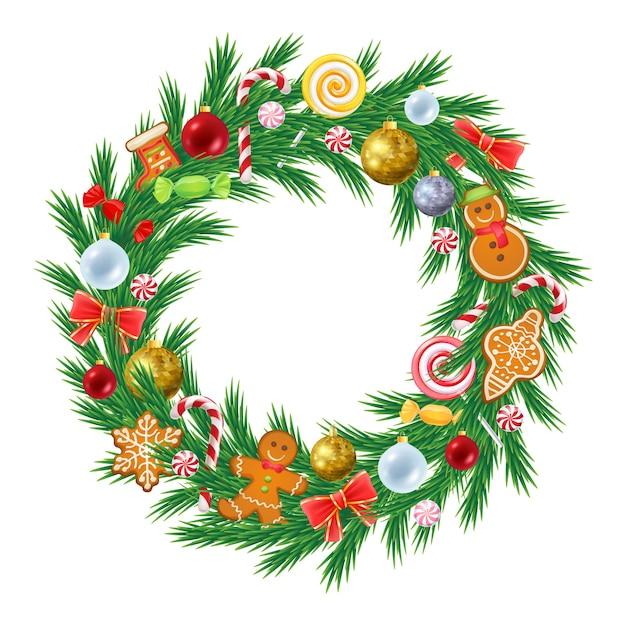 De kroon van de kerstboom met decoraties Premium Vector