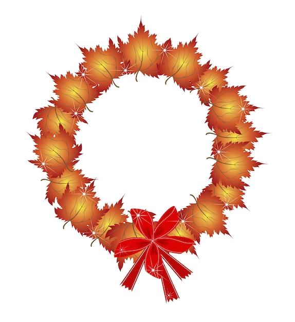 De kroon van kerstmis van oranje esdoorn bladeren en bogen Premium Vector