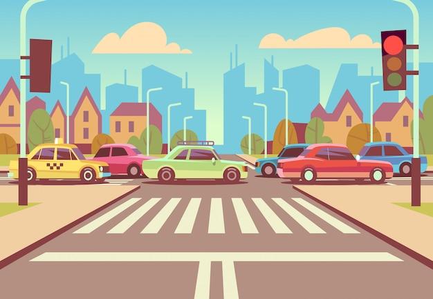 De kruispunten van de beeldverhaalstad met auto's in opstopping, stoep, zebrapad en stedelijke landschaps vectorillustratie Premium Vector