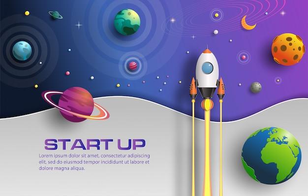 De kunststijl van het document van raket die in ruimte met startconcept vliegt. Premium Vector