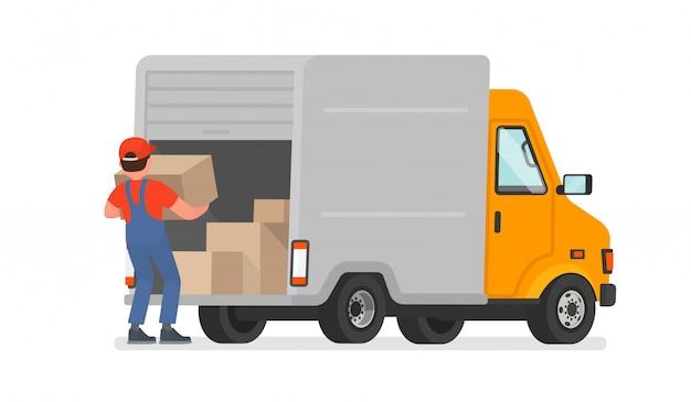 De lader lost de goederen uit de vrachtwagen. bezorgservice. in beweging Premium Vector