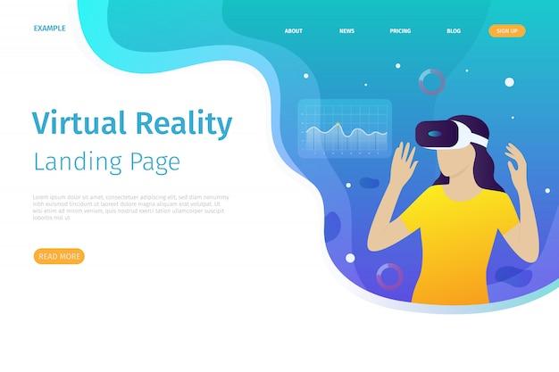 De landingspagina-sjabloon voor virtual reality kan worden gebruikt voor websites Premium Vector
