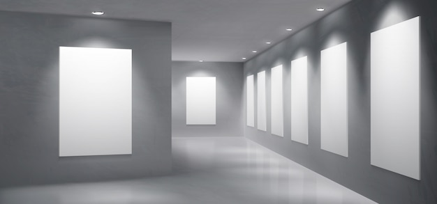 De lege binnenlandse vector van de kunstgalerietentoonstellingszaal Gratis Vector