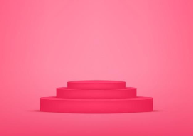 De lege rode achtergrond van de podiumstudio voor productvertoning met exemplaarruimte. Premium Vector