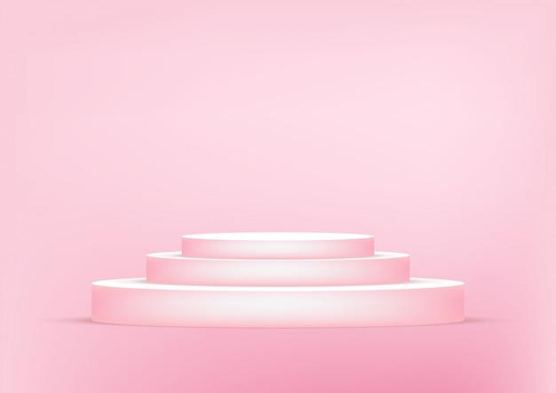De lege roze achtergrond van de podiumstudio voor productvertoning met exemplaarruimte. Premium Vector