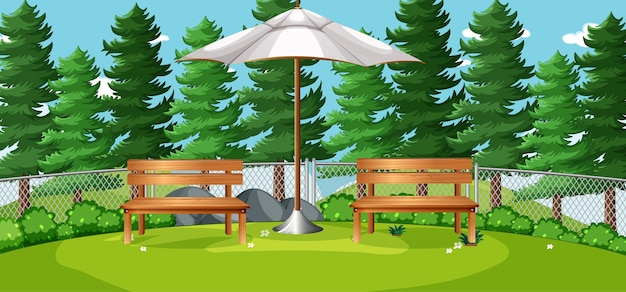 De lege scène van de natuurparkpicknick Gratis Vector