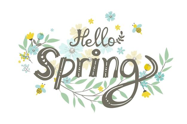 De lenteachtergrond met bloemen en bladeren Gratis Vector