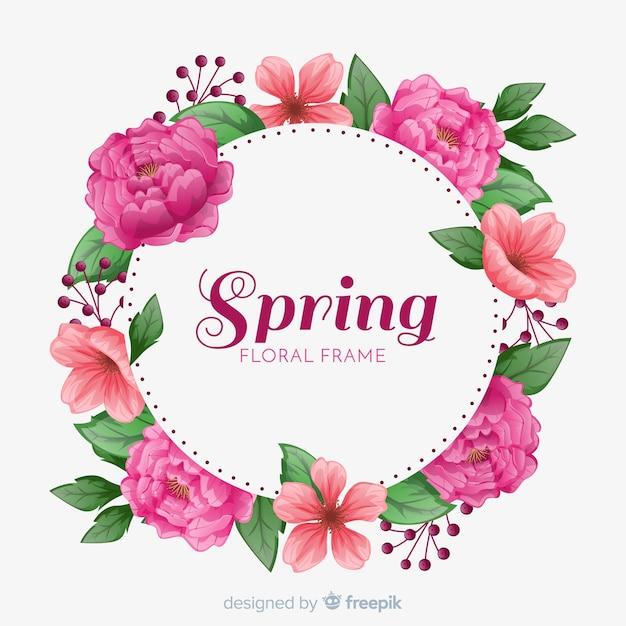De lenteachtergrond met bloemenframe Gratis Vector