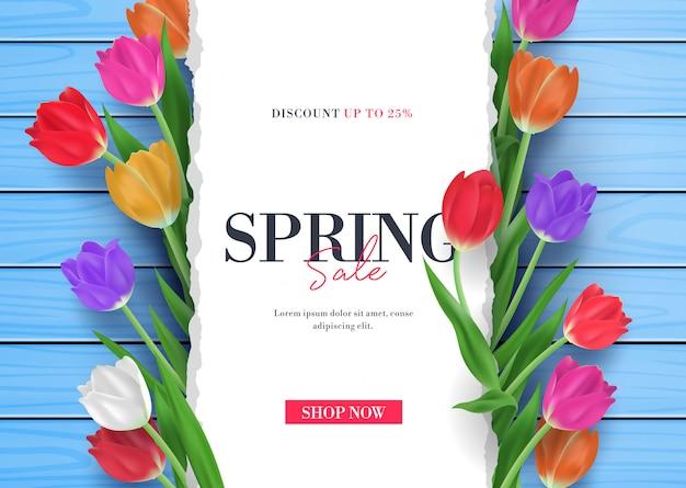 De lenteverkoop met tulpen bloeit 3d kaderillustratie Premium Vector