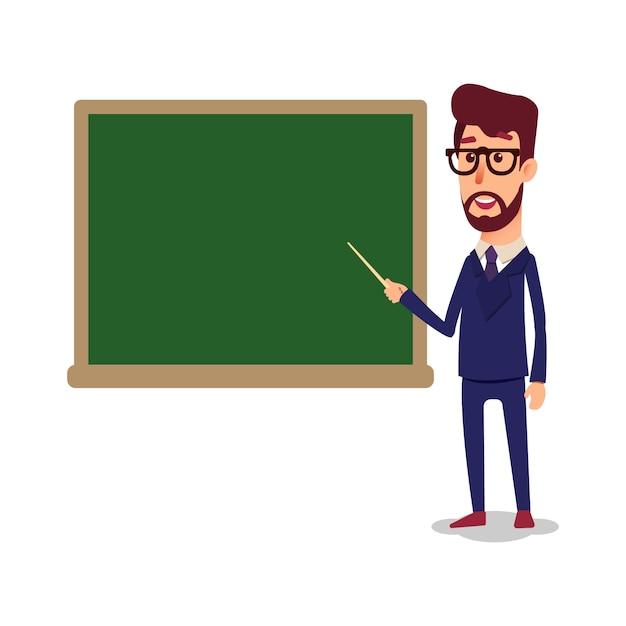 De leraar in de klas bij het bord geeft een les. Premium Vector