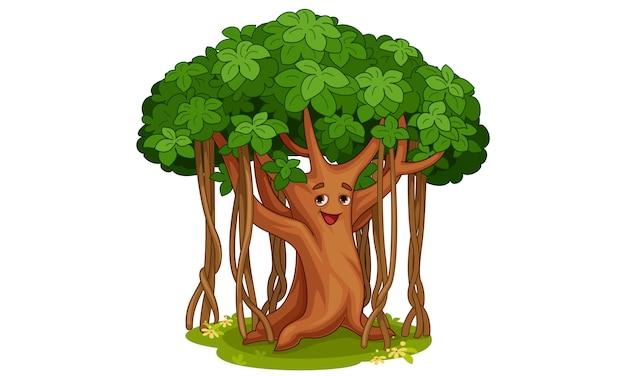 De leuke banyan illustratie van het boombeeldverhaal Gratis Vector