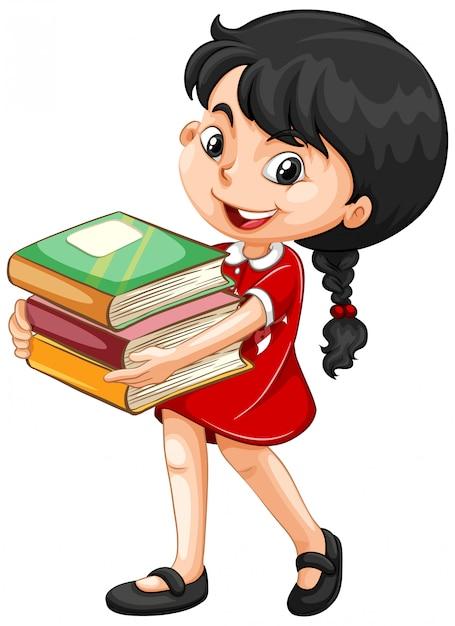 De leuke boeken van de meisjesholding Gratis Vector